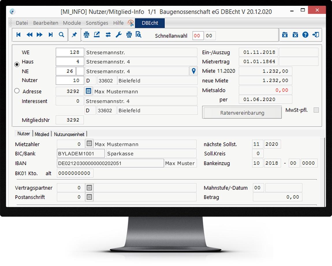 Bildschirm mit Auszug des Funktionsumfangs des Zusatzmoduls Mietverwaltung pro von Haufe wowinex