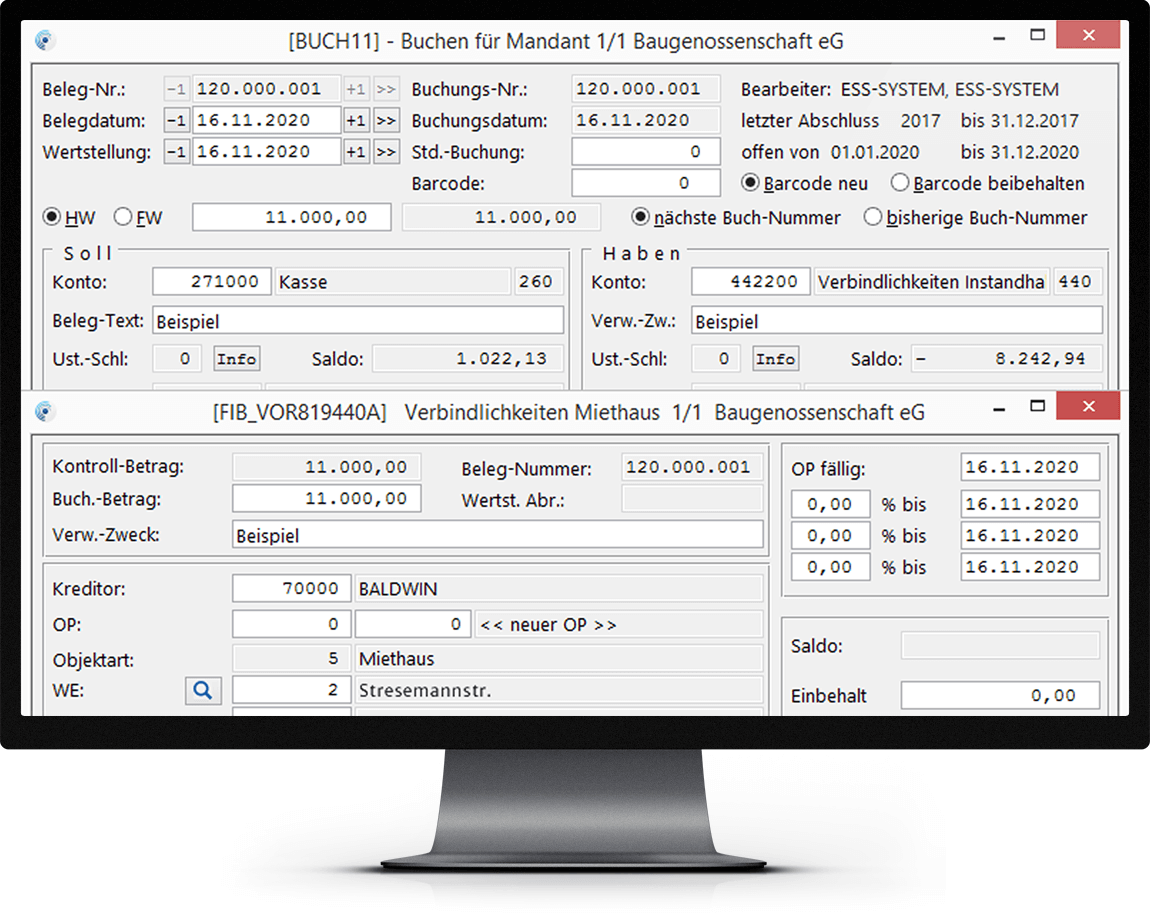 Bildschirm mit Abbildung des Zusatzmoduls Buchführung pro von Haufe wowinex