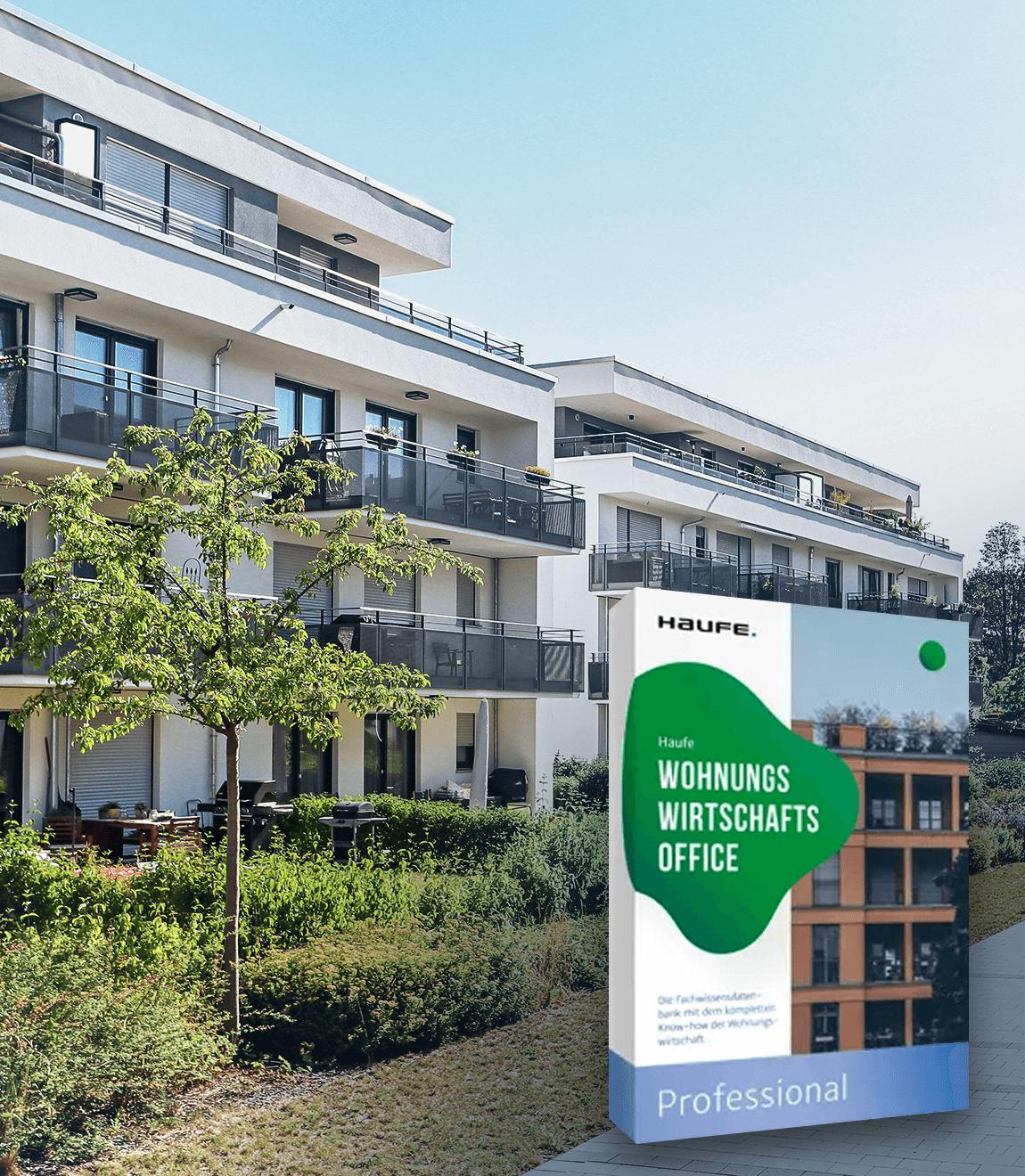 Produktabbildung von Haufe Wohnungswirtschafts Office Professional vor Häuserfront