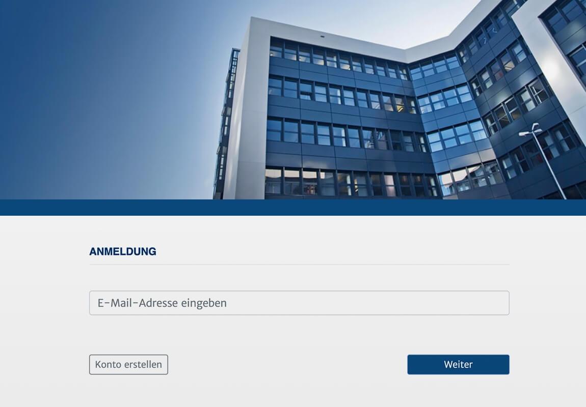 Screenshot der Anmeldemaske des Haufe wowinex Datenportals für Download und Upload