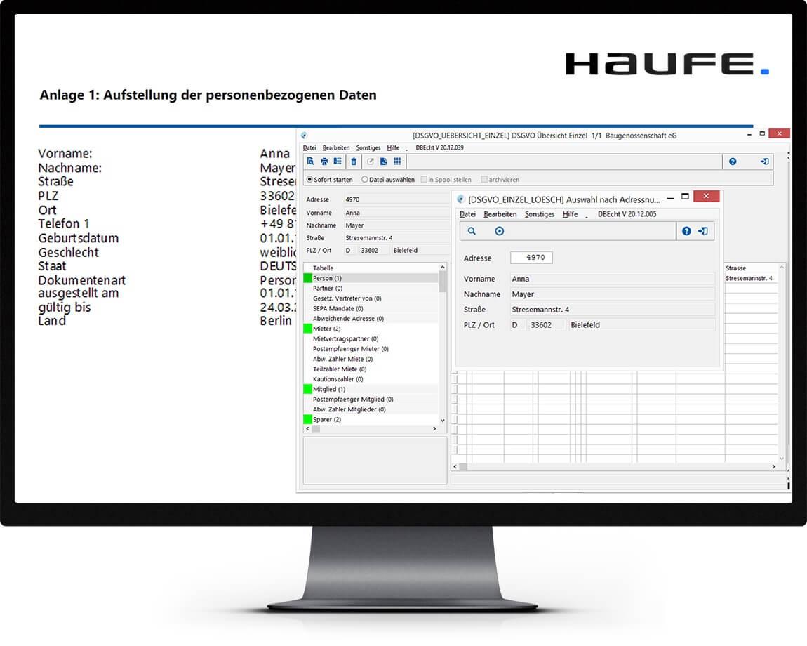Bildschirmmonitor mit Haufe wowinex Programm zur Darstellung der Fristen für den Datenschutz
