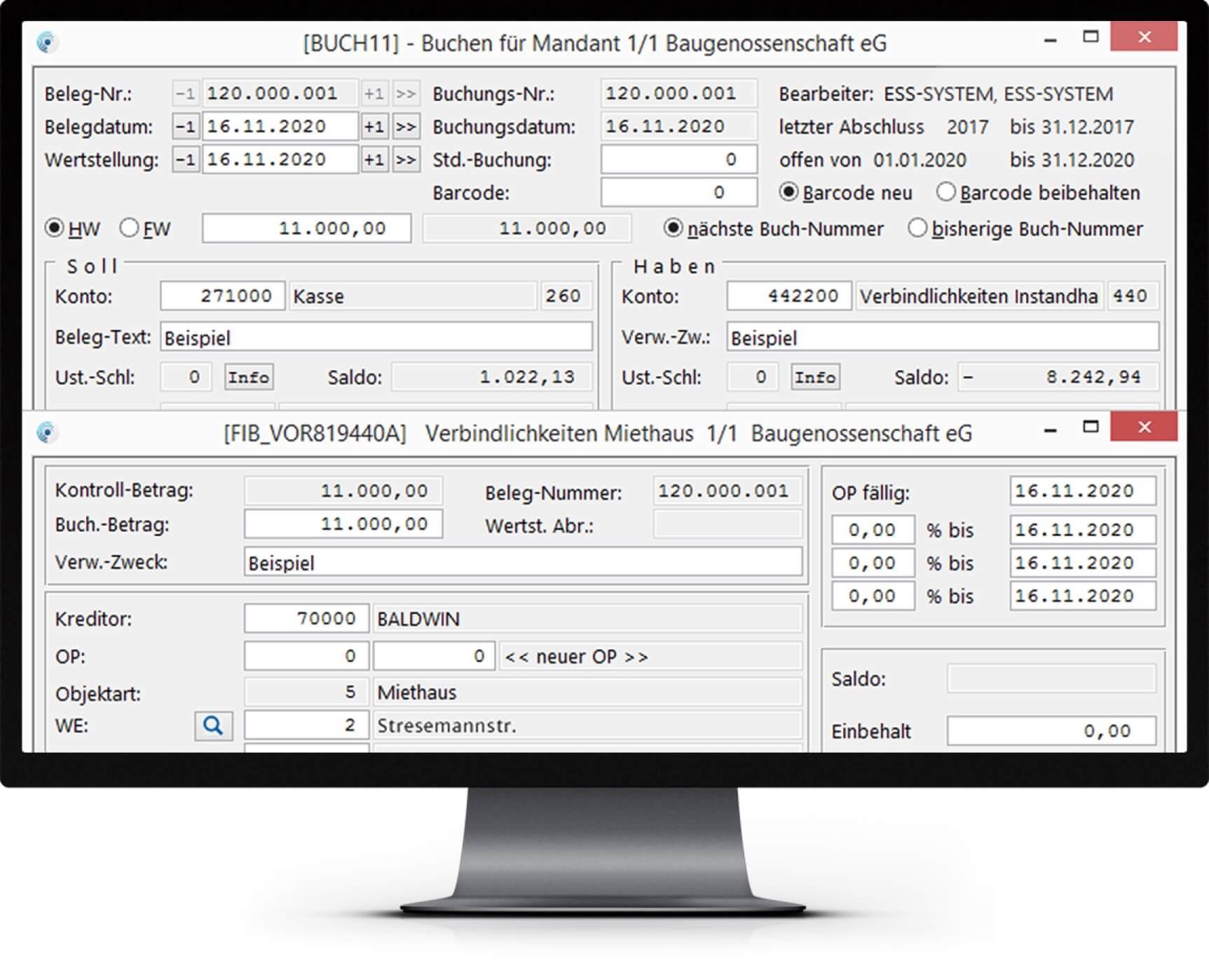 Bildschirm mit Abbildung der Finanzbuchhaltung der wohnungswirtschaftlichen Software wowinex