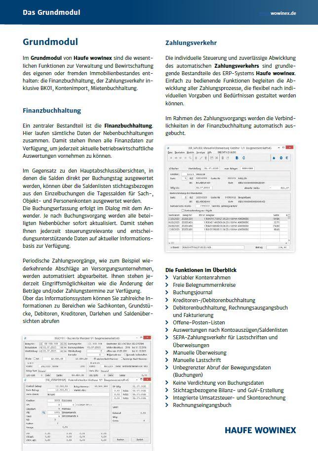 Übersicht des Grundmoduls von Haufe Wowinex