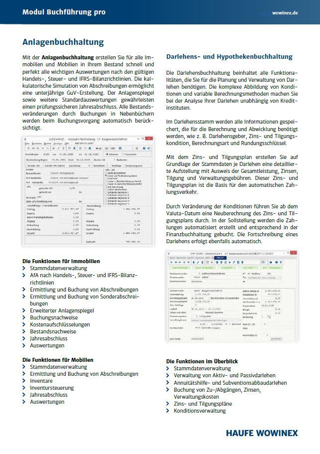 Modulbeschreibung von Buchführung pro für Wowinex