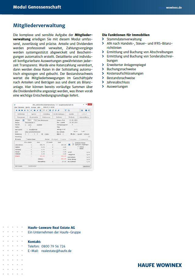 Informationen zum Zusatzmodul Genossenschaft von Wowinex