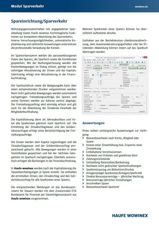 Datenblatt für das Zusatzmodul Sparverkehr von Haufe Wowinex
