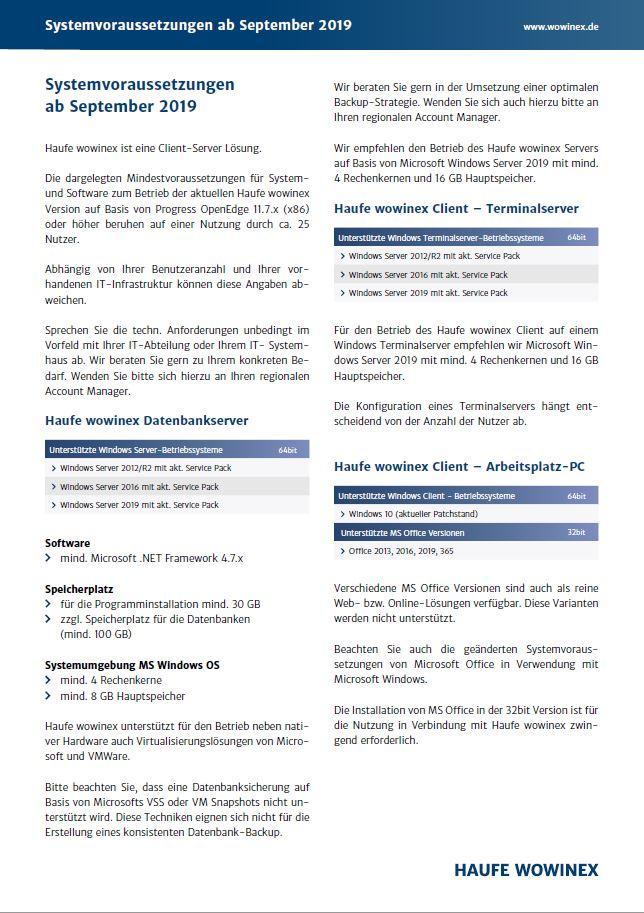 Systemvoraussetzungen für die Immobiliensoftware Wowinex