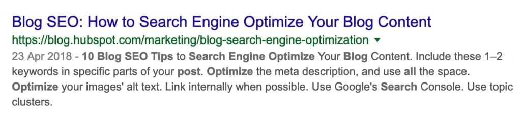 How your search is presented by google serp with the meta description highlighting the keywords in bold