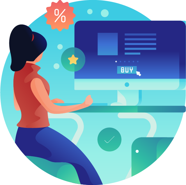 A women surfing the web to buy an audience