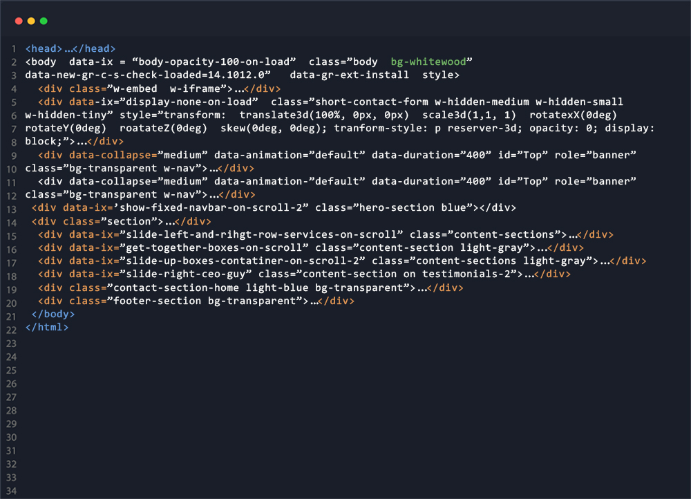 A snippet of website code from Trav Media Groups website