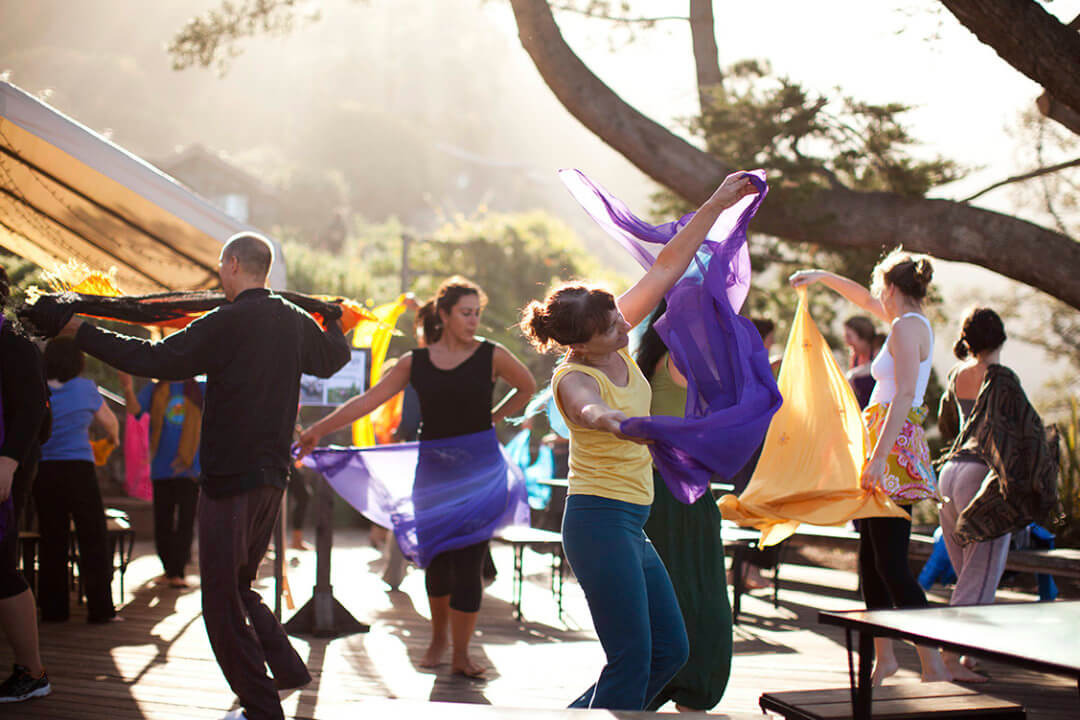 A photograph of a group of people dancing in the sunshine and waving purple and yellow fabric