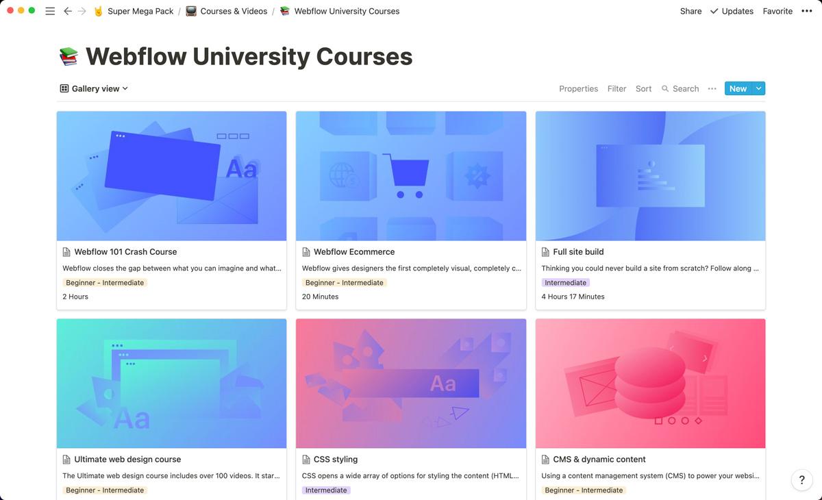 Every Webflow University course is neatly organized inside Super Mega Pack.