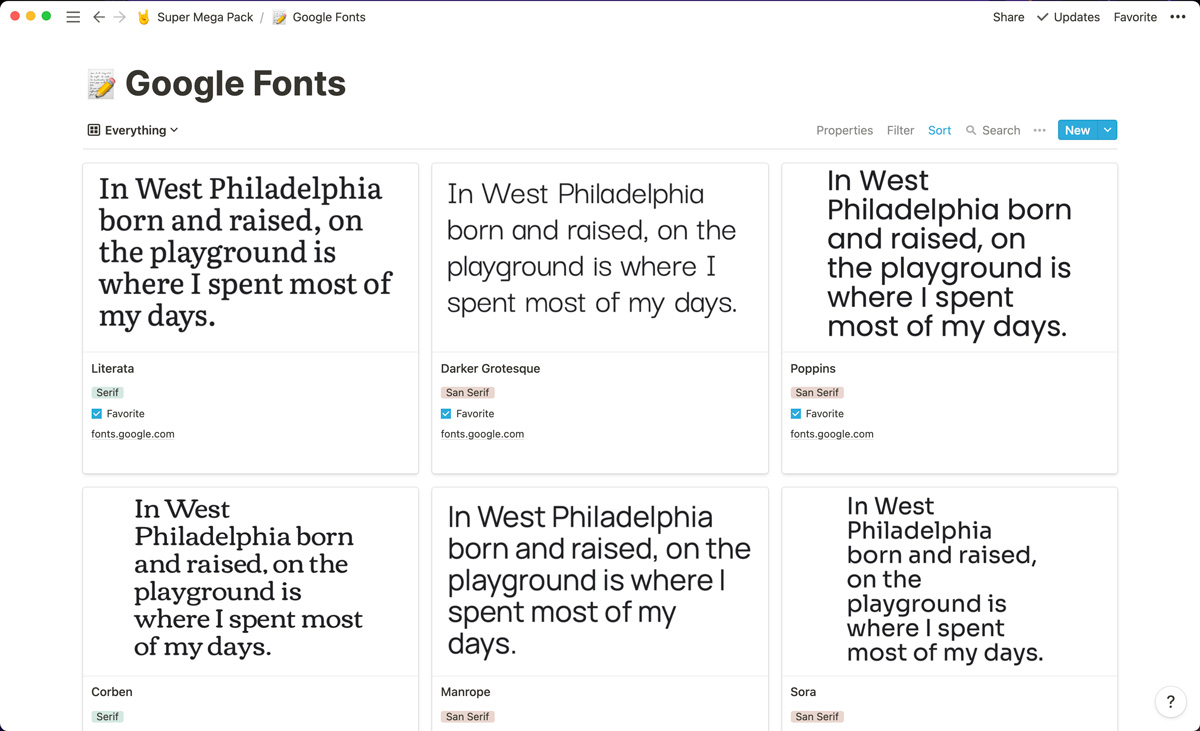 A curated list of over 60 Google fonts to use in your Webflow projects, all neatly organized in Notion.