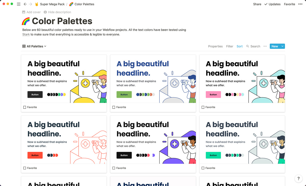 60 color palettes neatly organized inside of Notion.