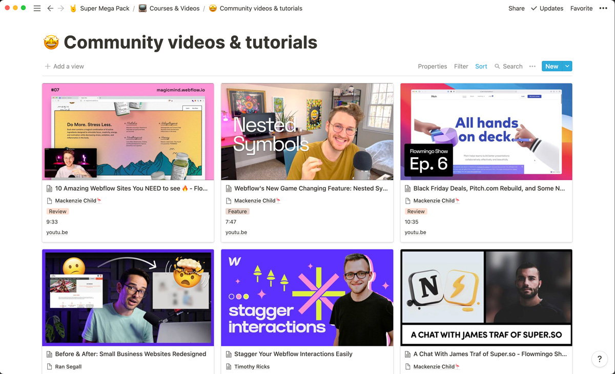 Videos and tutorials from creators in the Webflow community, all neatly organized in Notion.