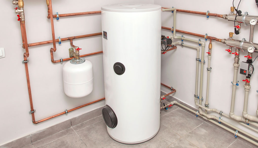 Installed water tank heater.