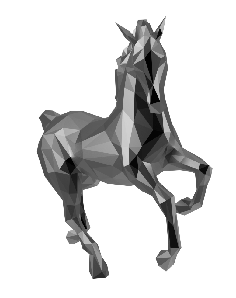 A low poly metal horse