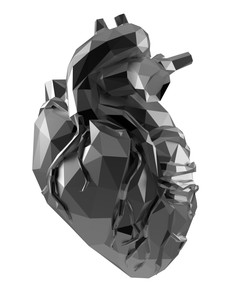A low poly triangle metal heart