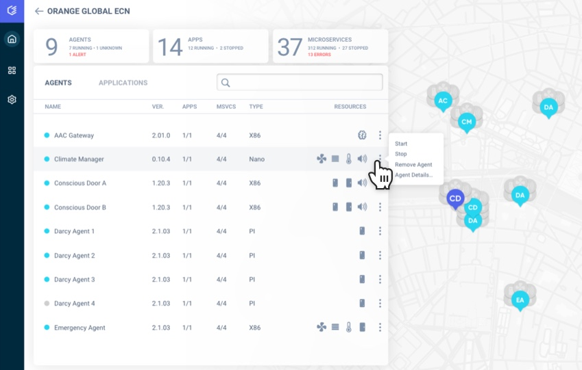 Edgeworx Cloud dashboard UI showing Edge nodes being monitored and managed