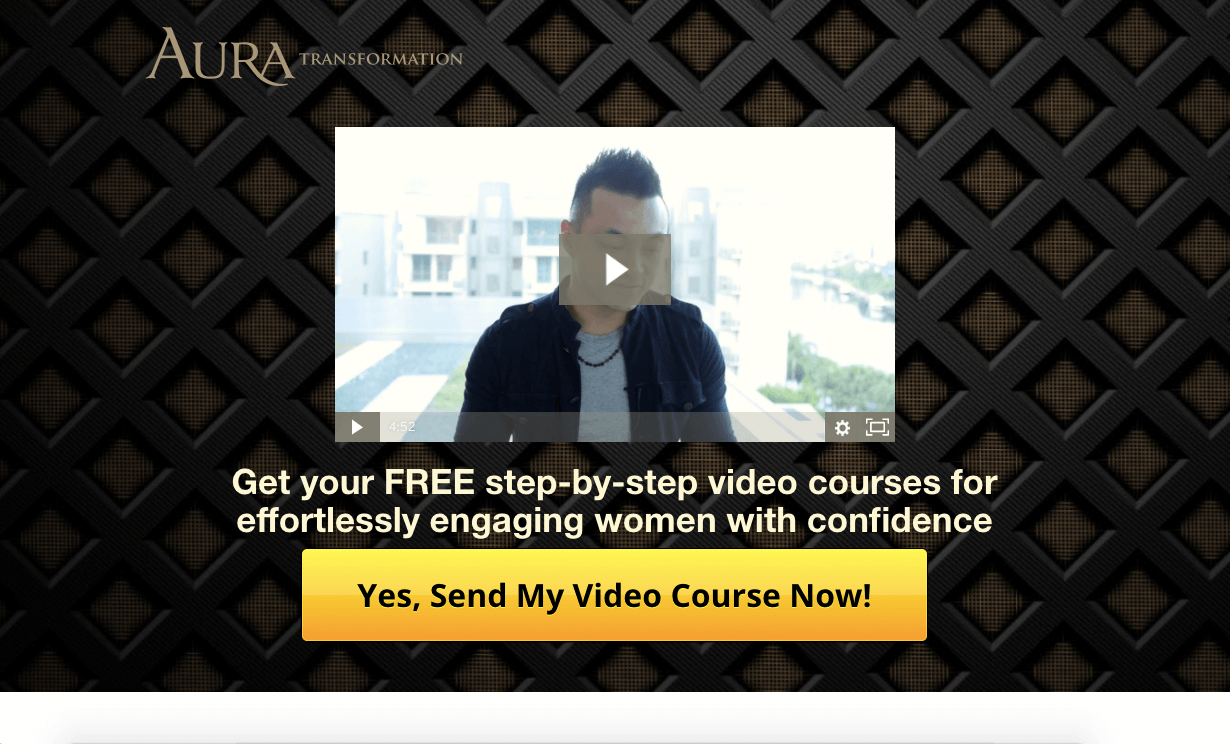 Example of sales funnel with video, text, and CTA button