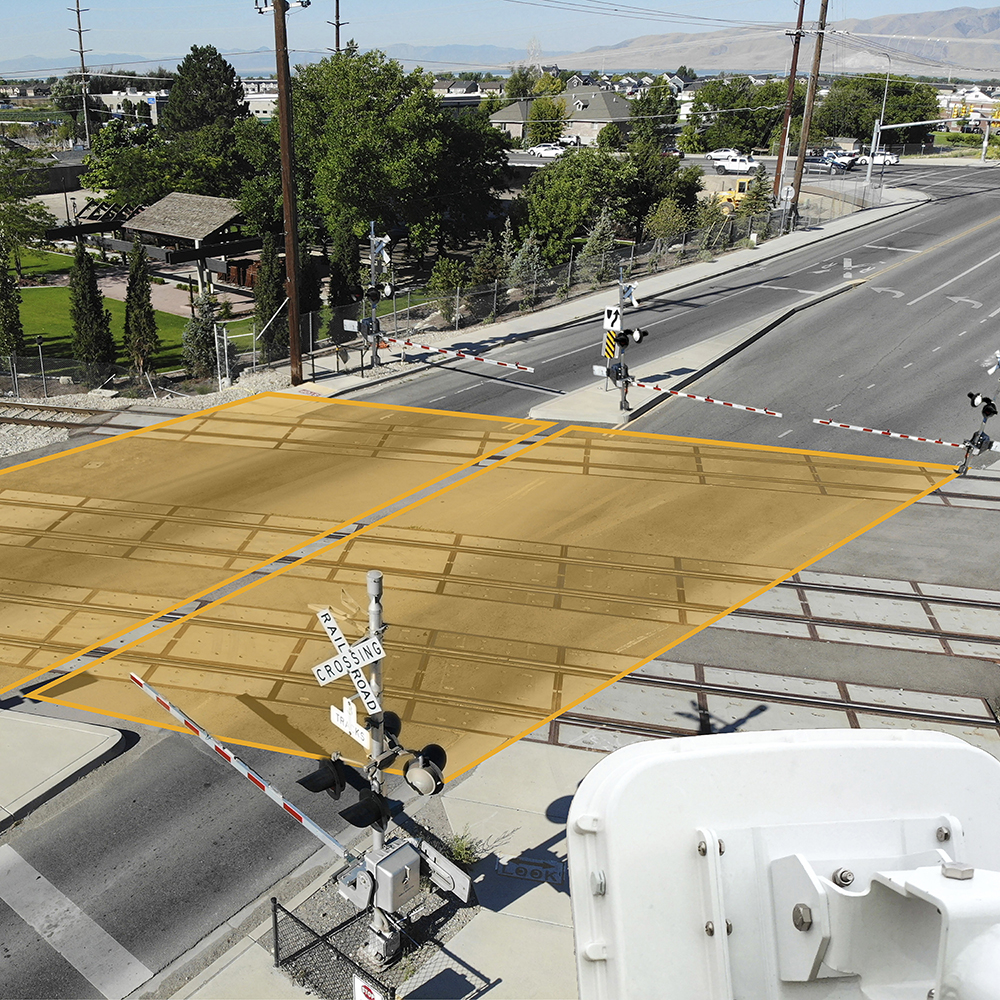 An intersection with detector beams intersecting.
