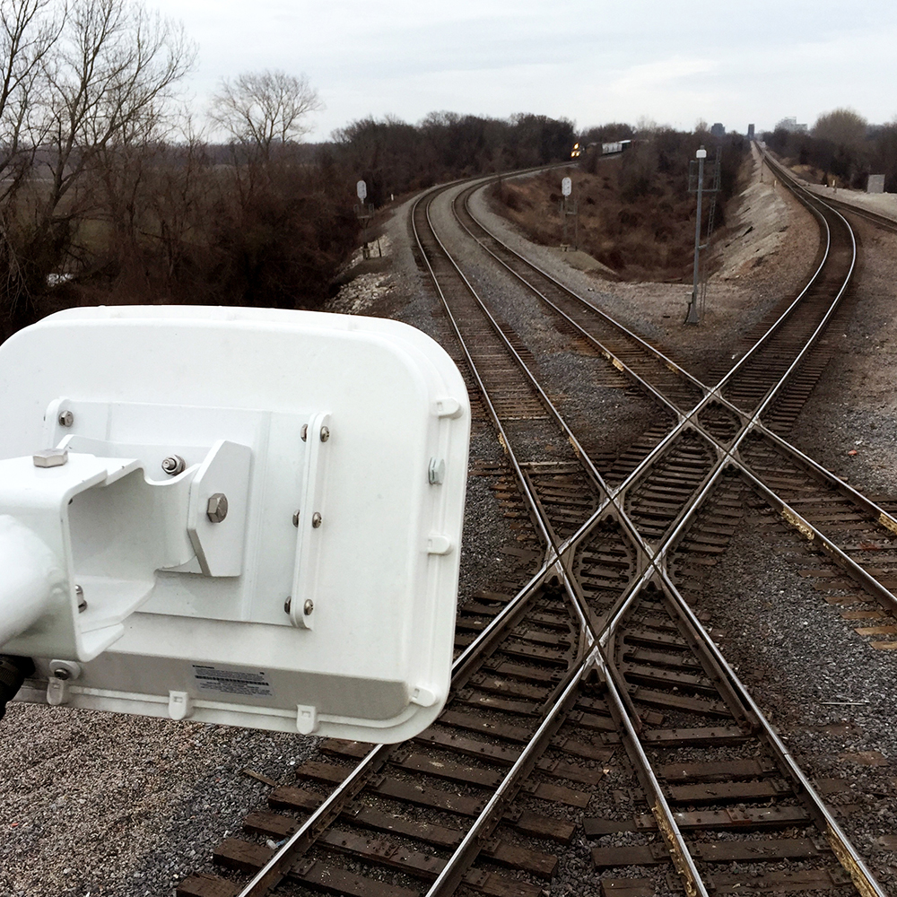 Railroad tracks with an Island Radar detector in the forground.