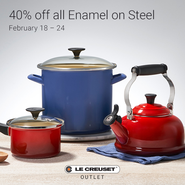 Le Creuset enamel red saucepan and large blue with the le creuset logo and text that reads 40 percent of enamel steel