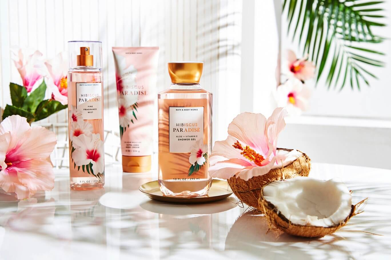 Hibiscus Paradise scented Bath & Body Works products