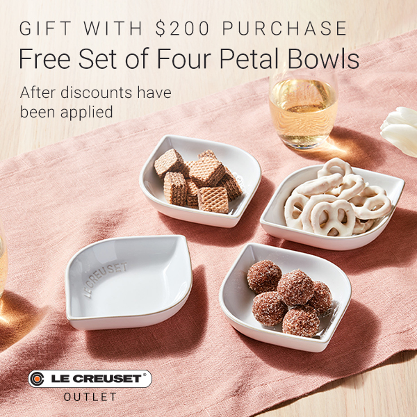 Four Le Creuset Petal Bowls