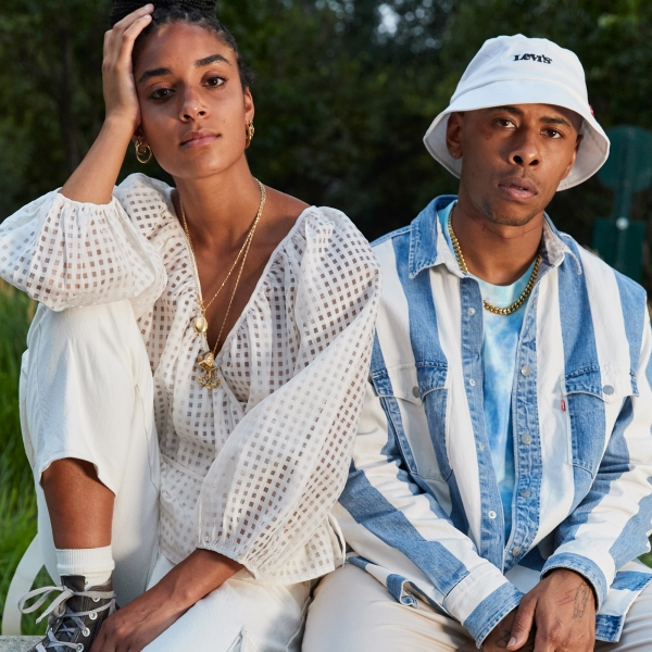 Young man and woman wearing Spring Levi's clothing
