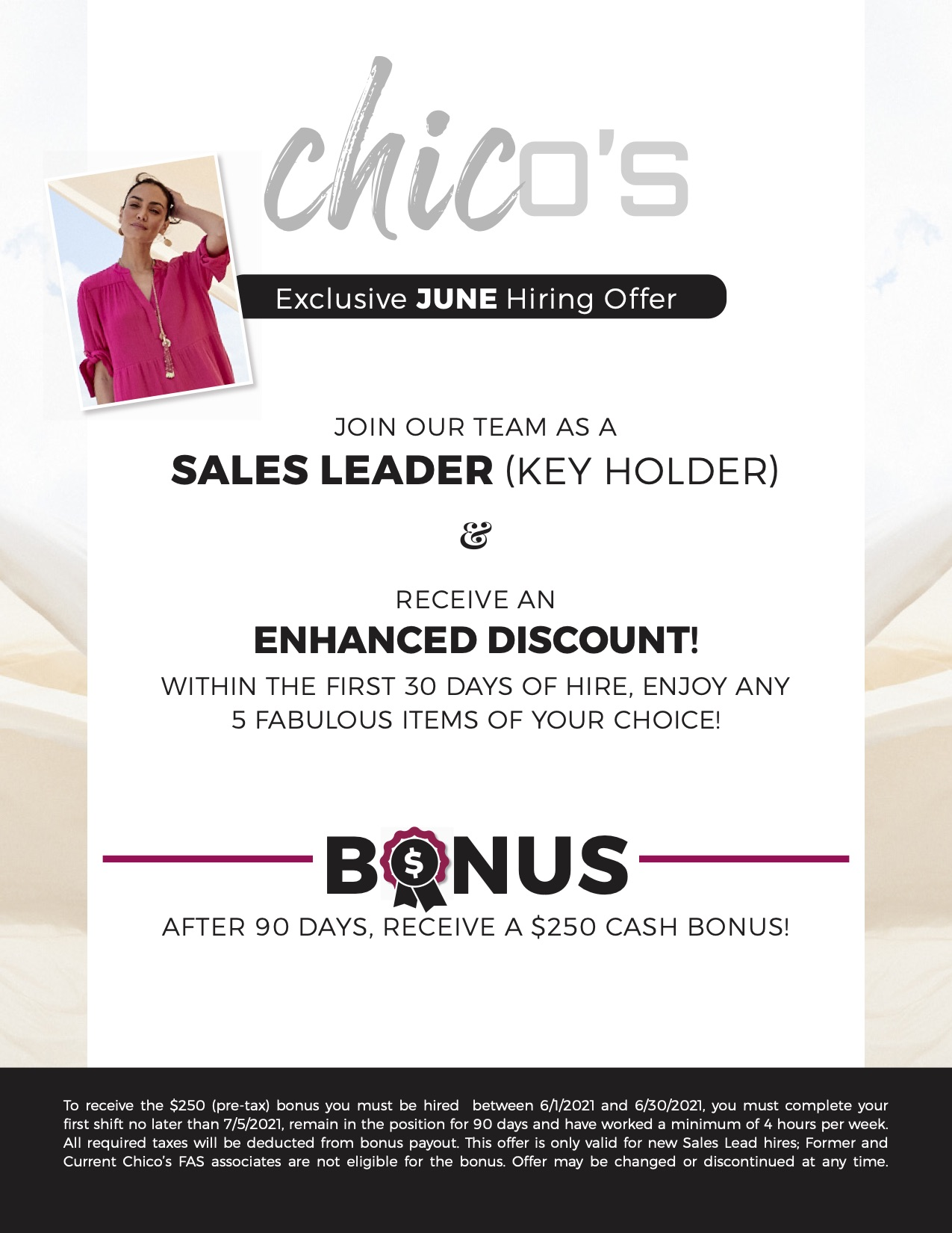 chicos hiring information added discount for additional 5 items in first 30 days