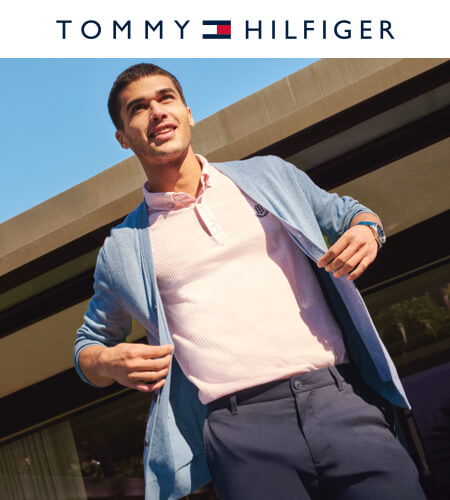 Young man wearing Tommy Hilfiger outfit