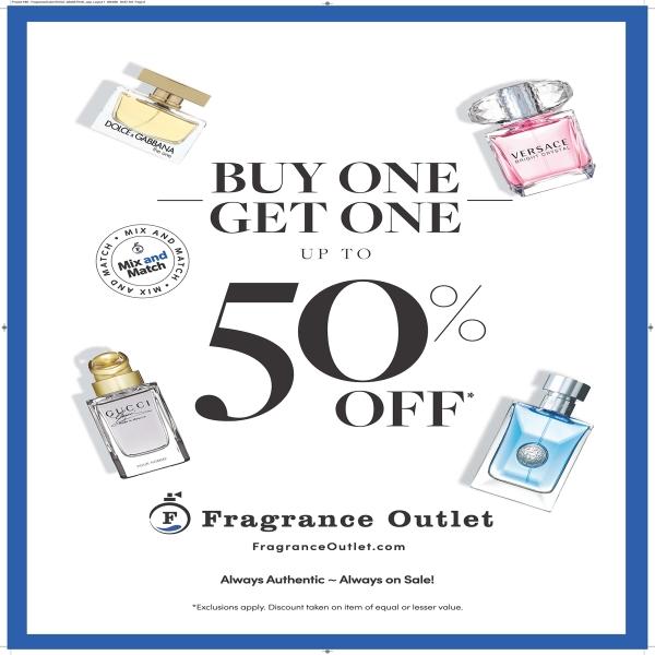 fragrances and 50 percent off text