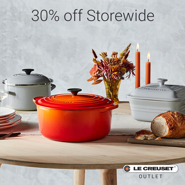 30% off Storewide promotional photo with Orange and white Le Creuset cookware