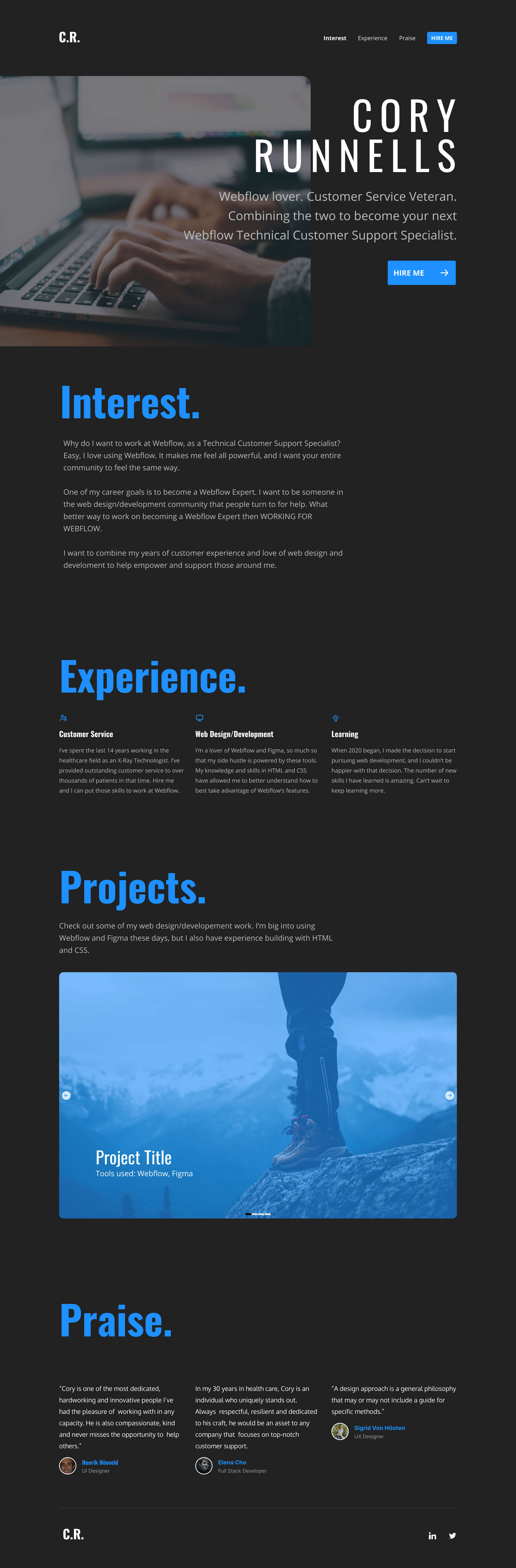 """Full-page screenshot for """"Webflow Job Application"""" project."""