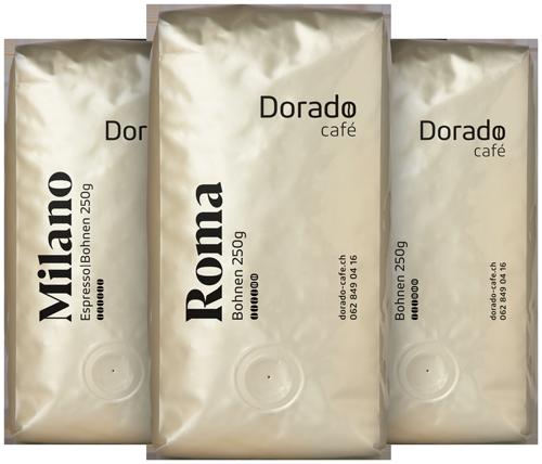 Drei Kaffeebohnenpackungen von der Sorte Milano, Roma, Cafeteria