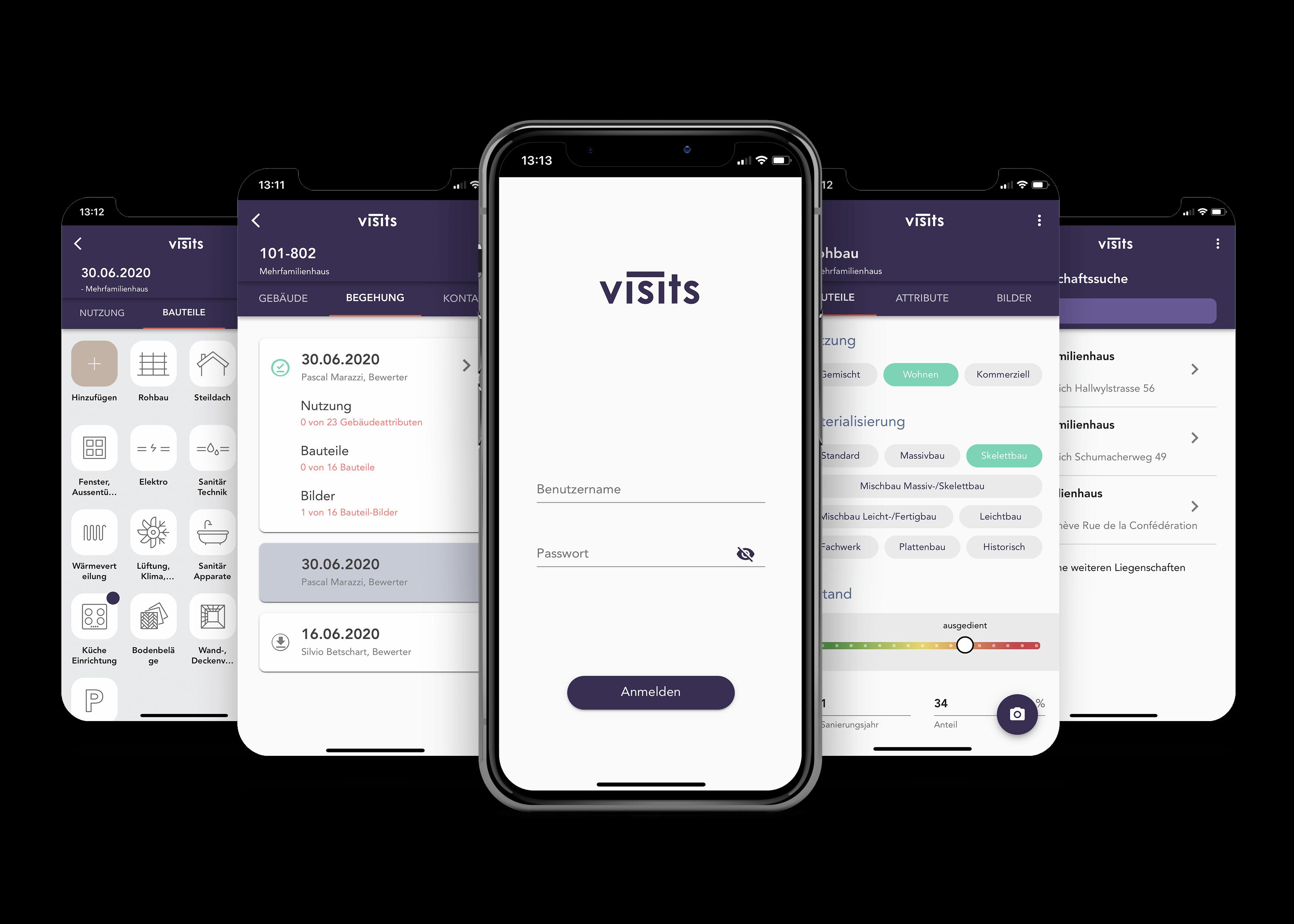 screenshots of the visit app