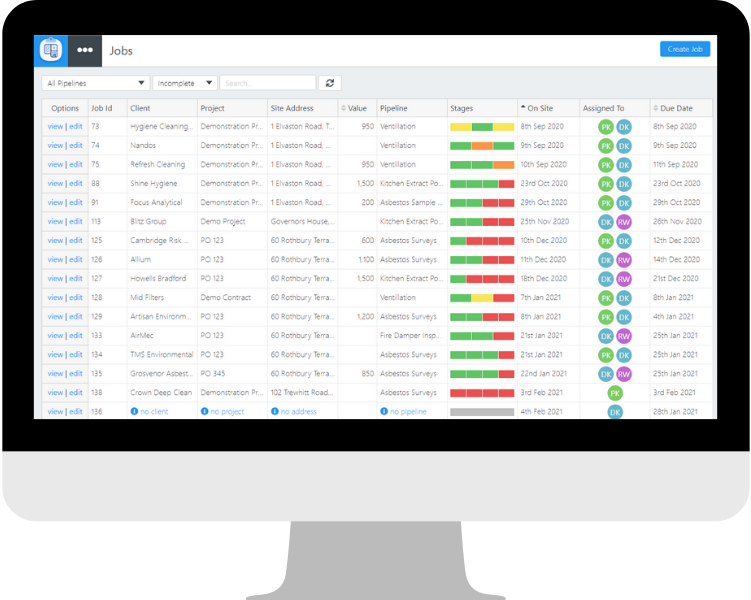 Manage your asbestos jobs and work in progress using a dashboard