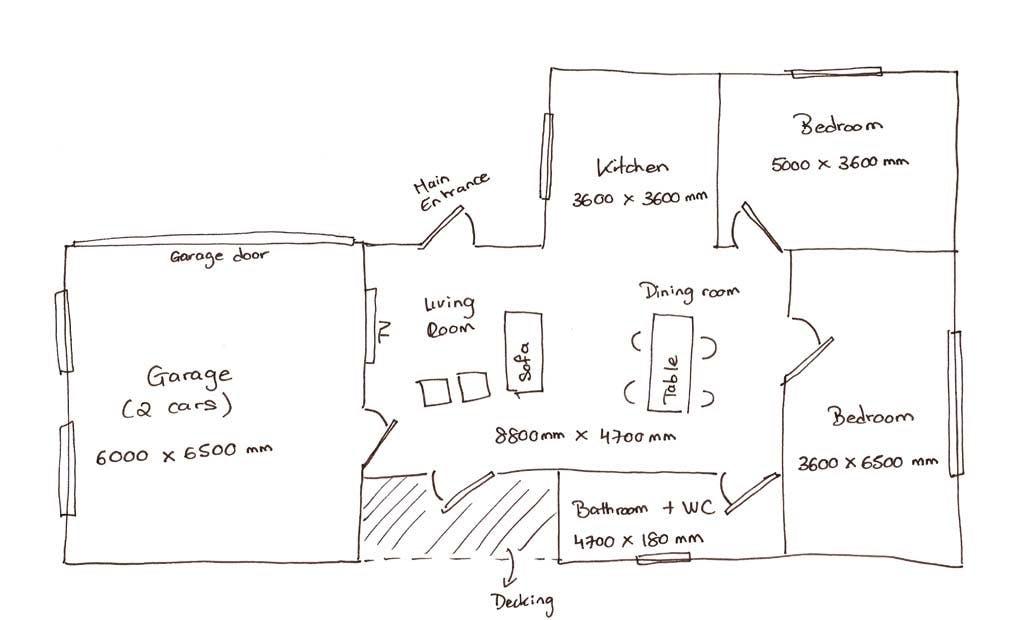 Asbestos survey floorplan sketch