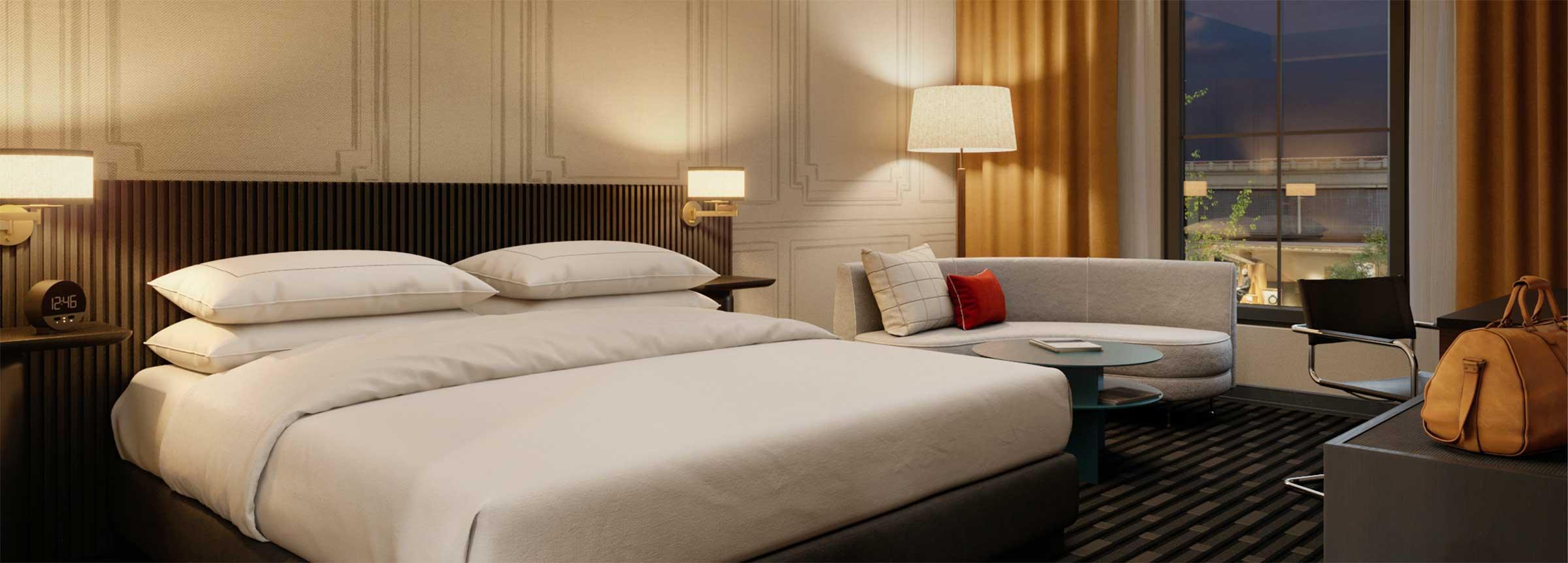guest room with king bedGuest room with king bed, hotel in Huntsville, 106 Jefferson