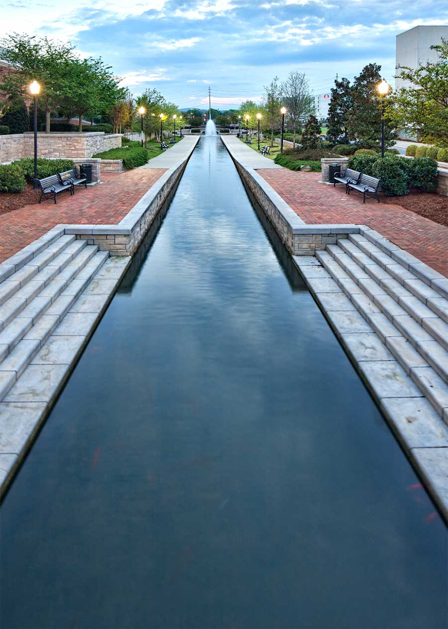 water-lined walkway in downtown Huntsville