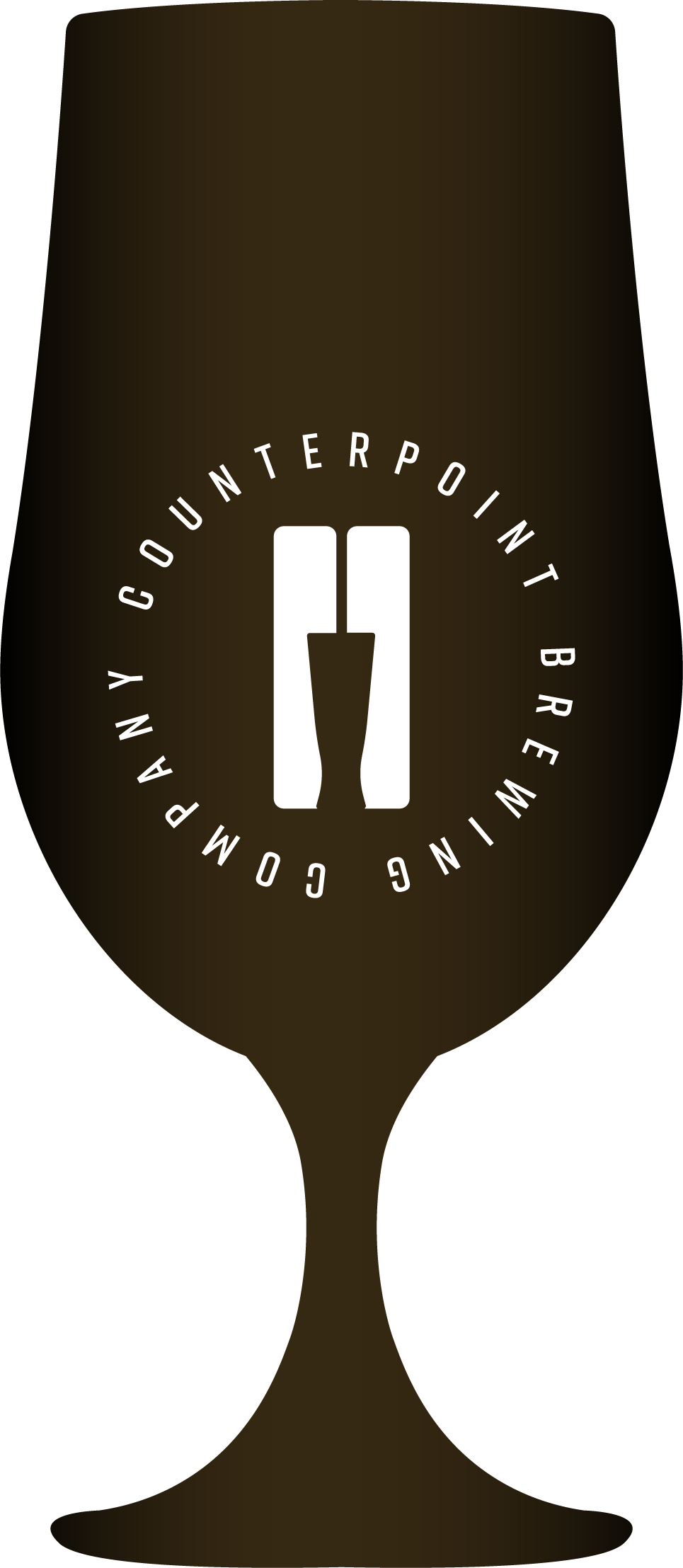 Icon shaped like a beer glass, demonstrating beer colour - black
