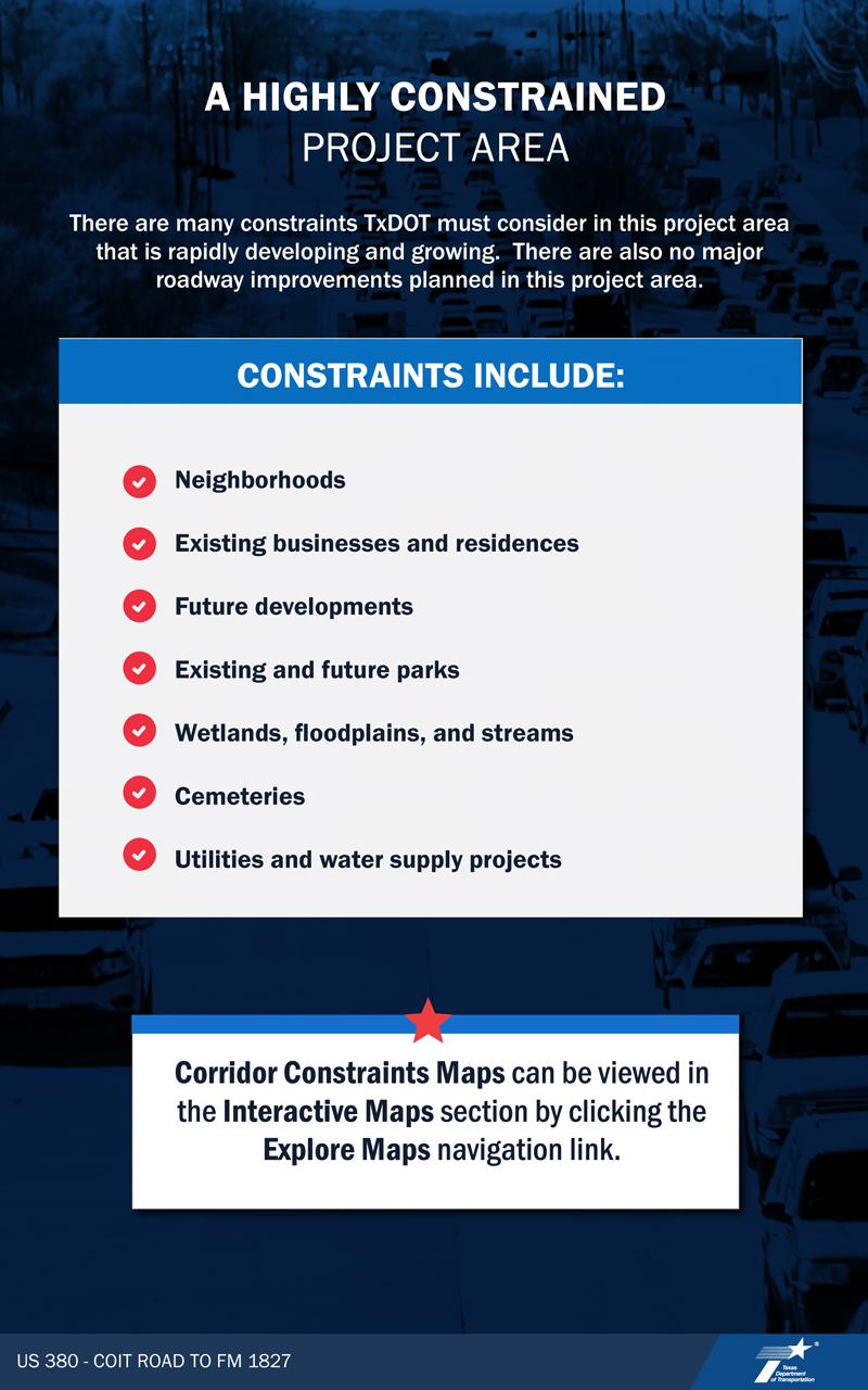 VIRTUAL PUBLIC MEETING BOARD:  Project area Constraints information