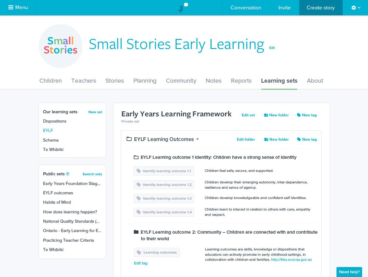 Storypark learning sets screenshot