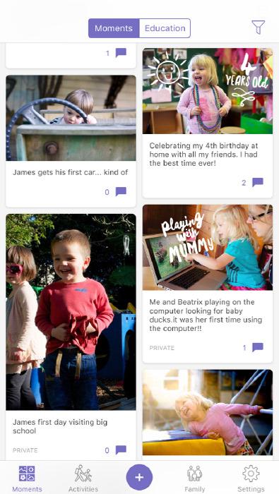 Storypark App timeline screenshot
