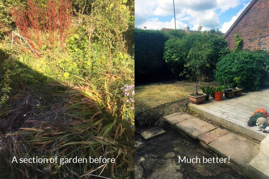 before and after garden clearance