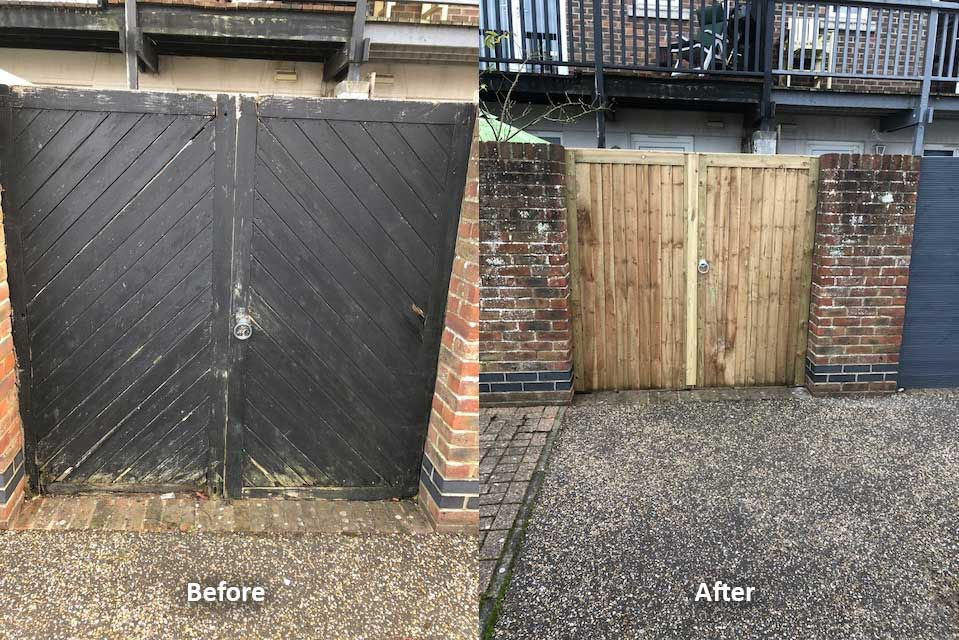 fence repair before and after