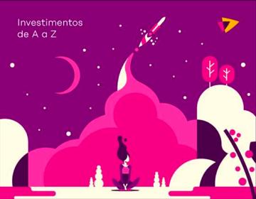 Ilustração com texto: Investimentos de A a Z