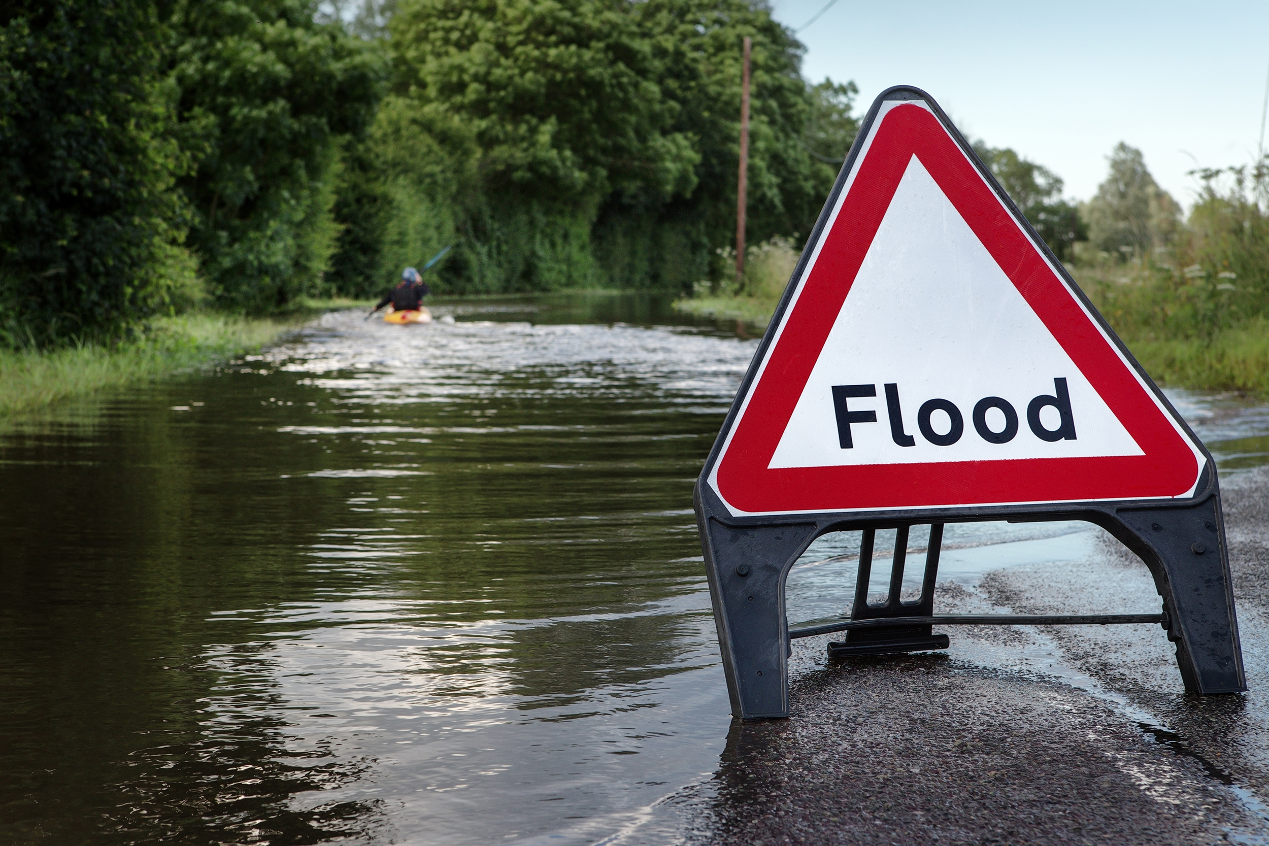 Henley Town Council - flooded road with warning sign