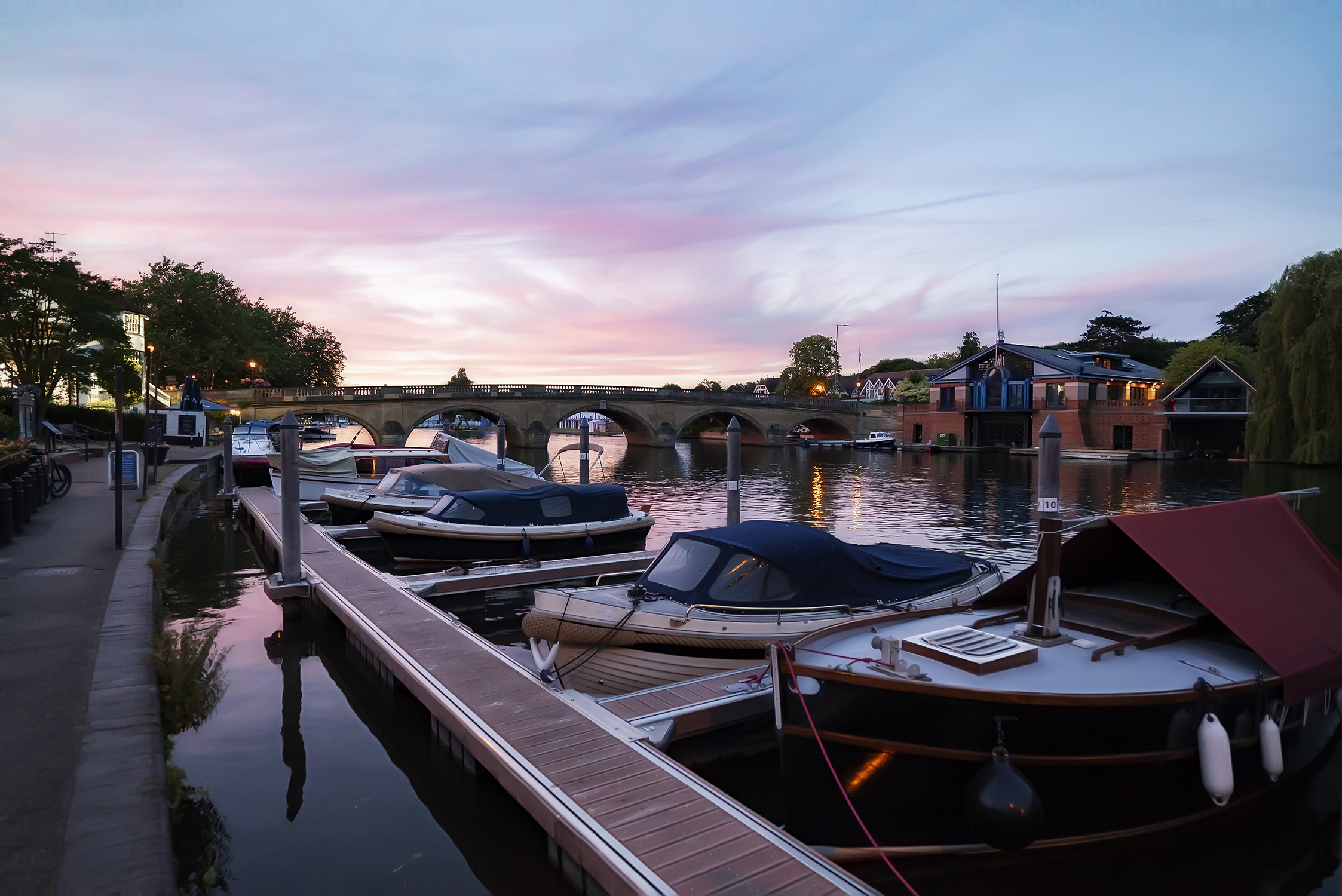 Henley Town Council - boats moored in front of Henley Bridge